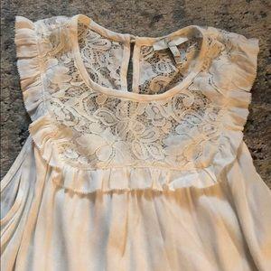 Joie lace trim white tank top small S viscose silk